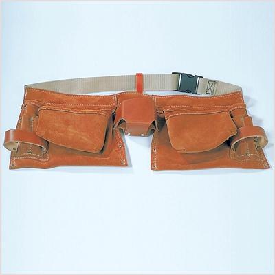 Sacoche professionnelle croûte de cuir 11 compartiments - ceintu