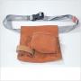 Sacoche professionnelle croûte de cuir 5 compartiments avec cein